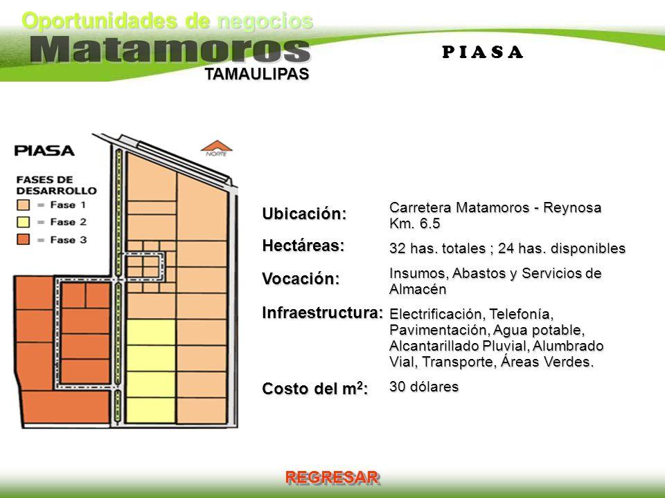 Oportunidades de negocios TAMAULIPAS P I A S A Ubicación:Hectáreas:Vocación:Infraestructura: Costo del m 2 : Carretera Matamoros - Reynosa Km. 6.5 32