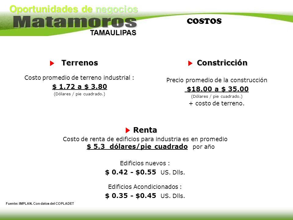 Oportunidades de negocios TAMAULIPAS COSTOSTerrenos Costo promedio de terreno industrial : $ 1.72 a $ 3.80 (Dólares / pie cuadrado.)Constricción Preci