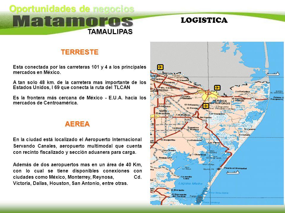 Oportunidades de negocios TAMAULIPAS LOGISTICATERRESTE Esta conectada por las carreteras 101 y 4 a los principales mercados en México. A tan solo 48 k