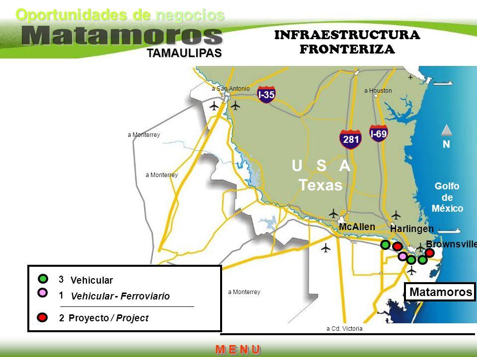 Oportunidades de negocios TAMAULIPAS I-35 281 I-69 Brownsville Harlingen McAllen a Houston a San Antonio a Monterrey a Cd. Victoria U S A Texas 3 1 2