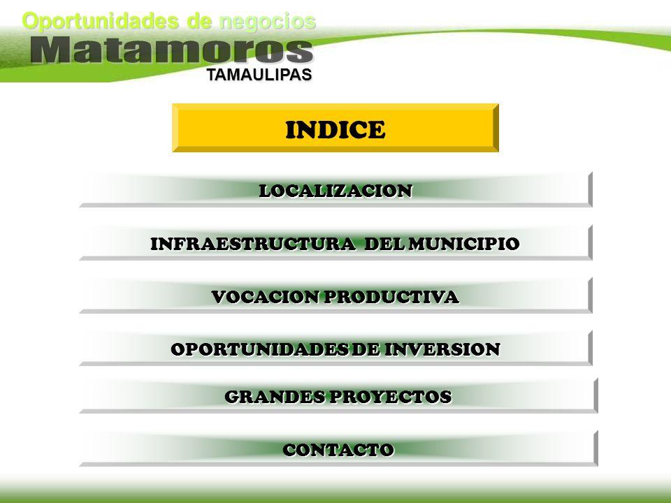 TAMAULIPAS INDICE INFRAESTRUCTURA DEL MUNICIPIO INFRAESTRUCTURA DEL MUNICIPIO VOCACION PRODUCTIVA VOCACION PRODUCTIVA OPORTUNIDADES DE INVERSION OPORT