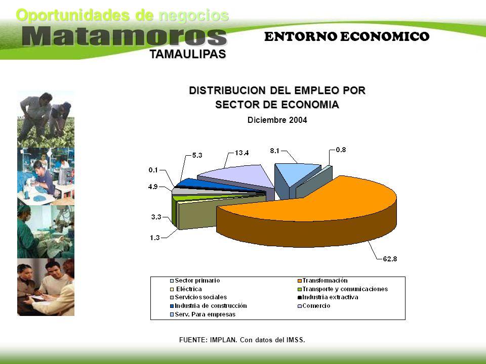 TAMAULIPAS DISTRIBUCION DEL EMPLEO POR SECTOR DE ECONOMIA Diciembre 2004 FUENTE: IMPLAN. Con datos del IMSS. ENTORNO ECONOMICO