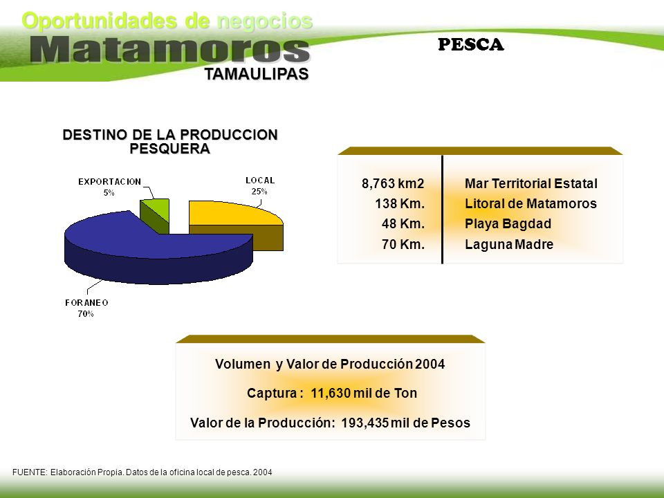 Oportunidades de negocios TAMAULIPAS PESCA 8,763 km2 138 Km. 48 Km. 70 Km. Mar Territorial Estatal Litoral de Matamoros Playa Bagdad Laguna Madre DEST