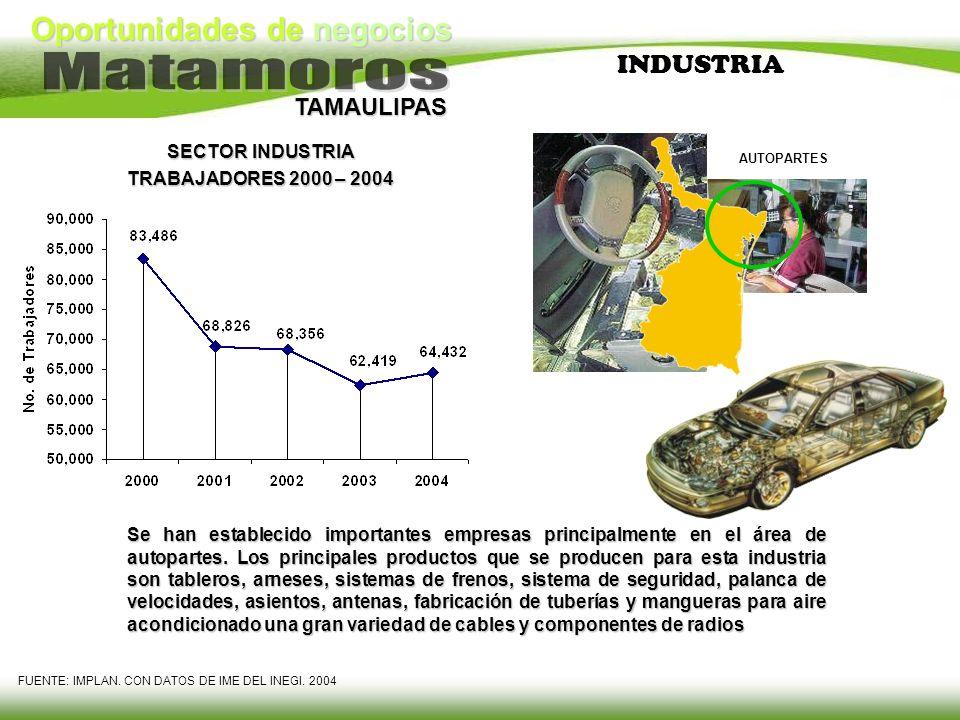 Oportunidades de negocios TAMAULIPAS INDUSTRIA Se han establecido importantes empresas principalmente en el área de autopartes. Los principales produc