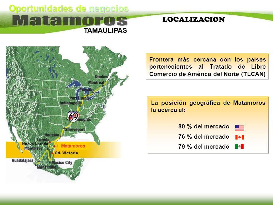 Oportunidades de negocios TAMAULIPAS Frontera más cercana con los países pertenecientes al Tratado de Libre Comercio de América del Norte (TLCAN) La p