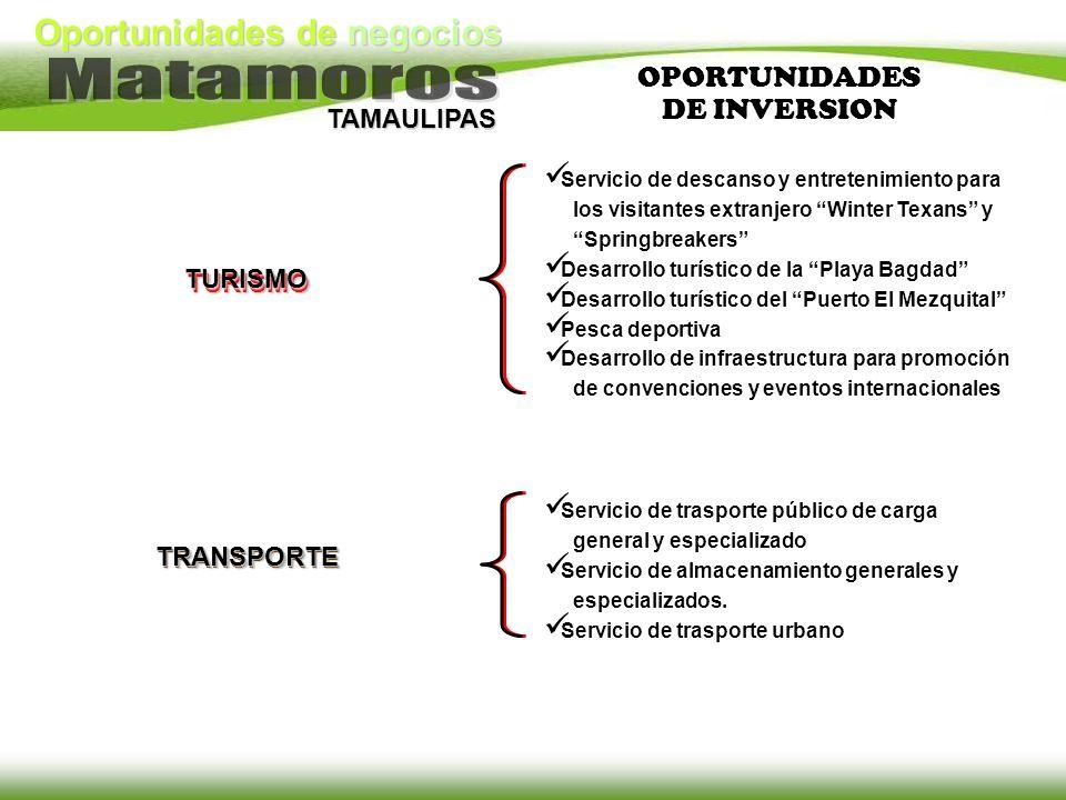 Oportunidades de negocios TAMAULIPAS OPORTUNIDADES DE INVERSION TRANSPORTE Servicio de trasporte público de carga general y especializado Servicio de