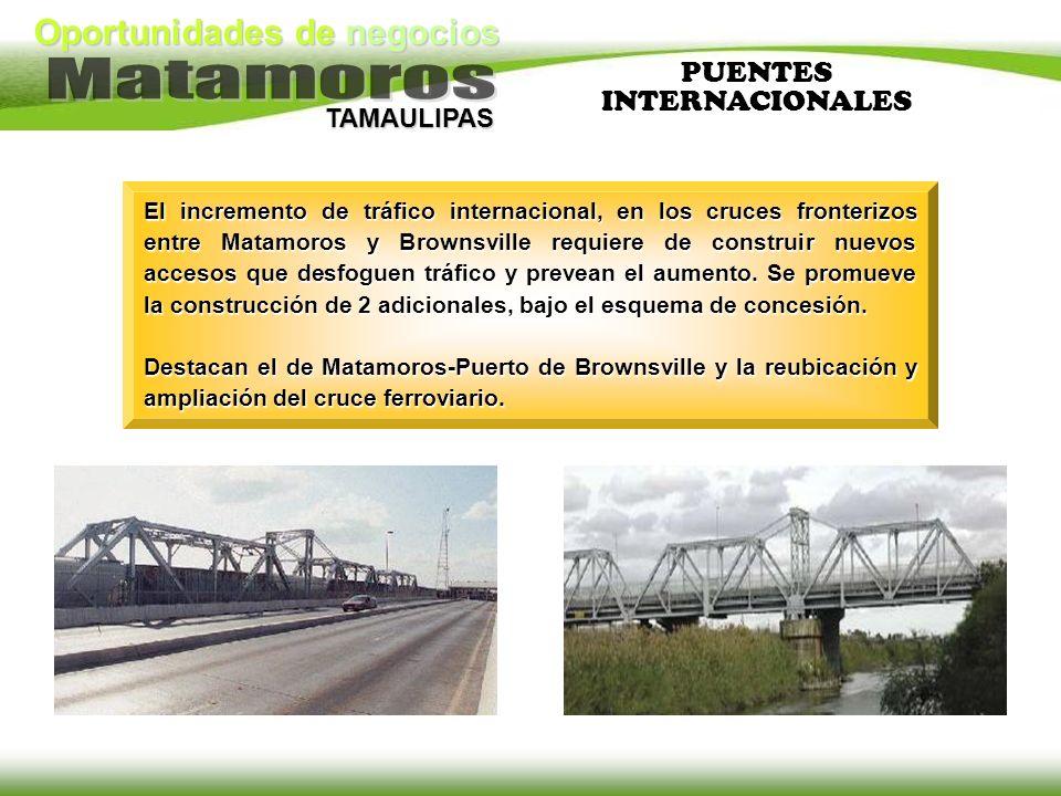 Oportunidades de negocios TAMAULIPAS PUENTES INTERNACIONALES El incremento de tráfico internacional, en los cruces fronterizos entre Matamoros y Brown