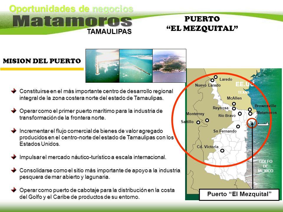 Oportunidades de negocios TAMAULIPAS PUERTO EL MEZQUITAL Constituirse en el más importante centro de desarrollo regional integral de la zona costera n