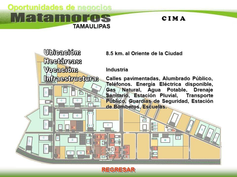 Oportunidades de negocios TAMAULIPAS C I M A 8.5 km. al Oriente de la Ciudad Industria Calles pavimentadas, Alumbrado Público, Teléfonos. Energía Eléc