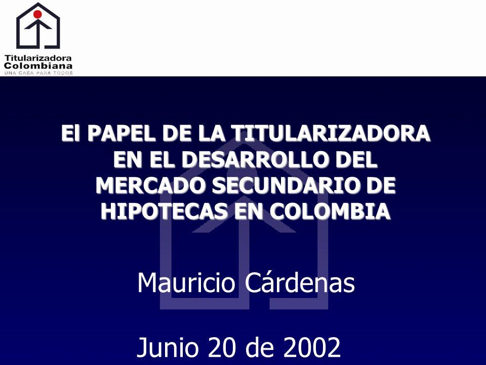 El PAPEL DE LA TITULARIZADORA EN EL DESARROLLO DEL MERCADO SECUNDARIO DE HIPOTECAS EN COLOMBIA Mauricio Cárdenas Junio 20 de 2002