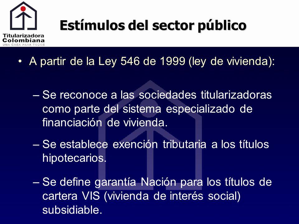 A partir de la Ley 546 de 1999 (ley de vivienda): –Se reconoce a las sociedades titularizadoras como parte del sistema especializado de financiación d