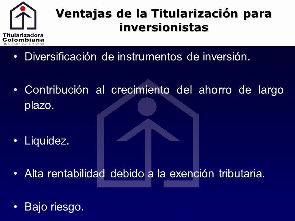 Diversificación de instrumentos de inversión. Contribución al crecimiento del ahorro de largo plazo. Liquidez. Alta rentabilidad debido a la exención