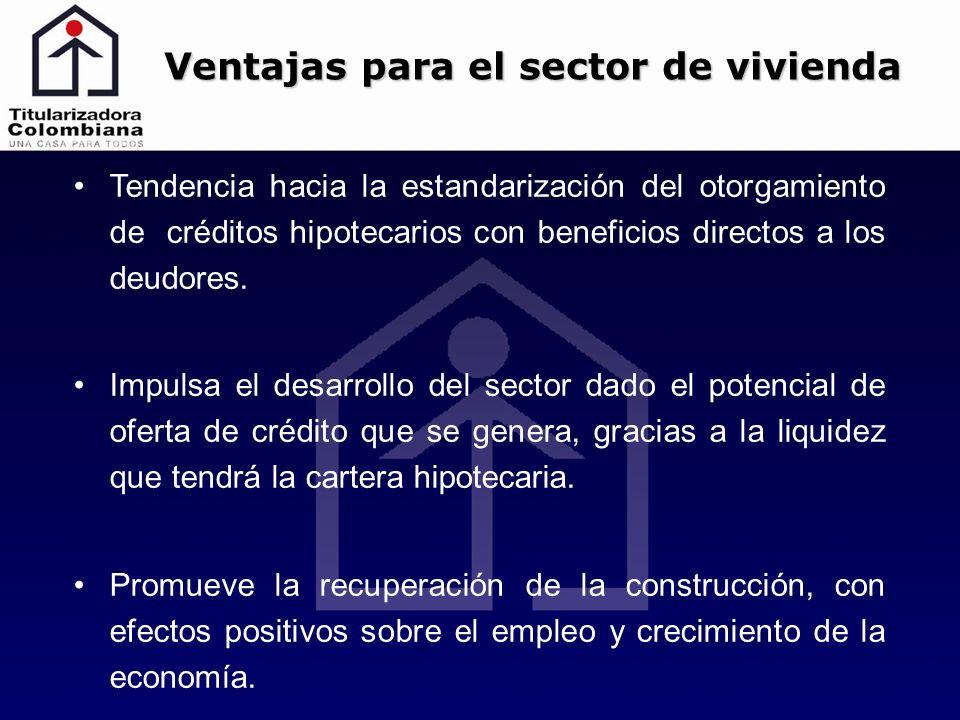 Tendencia hacia la estandarización del otorgamiento de créditos hipotecarios con beneficios directos a los deudores. Impulsa el desarrollo del sector