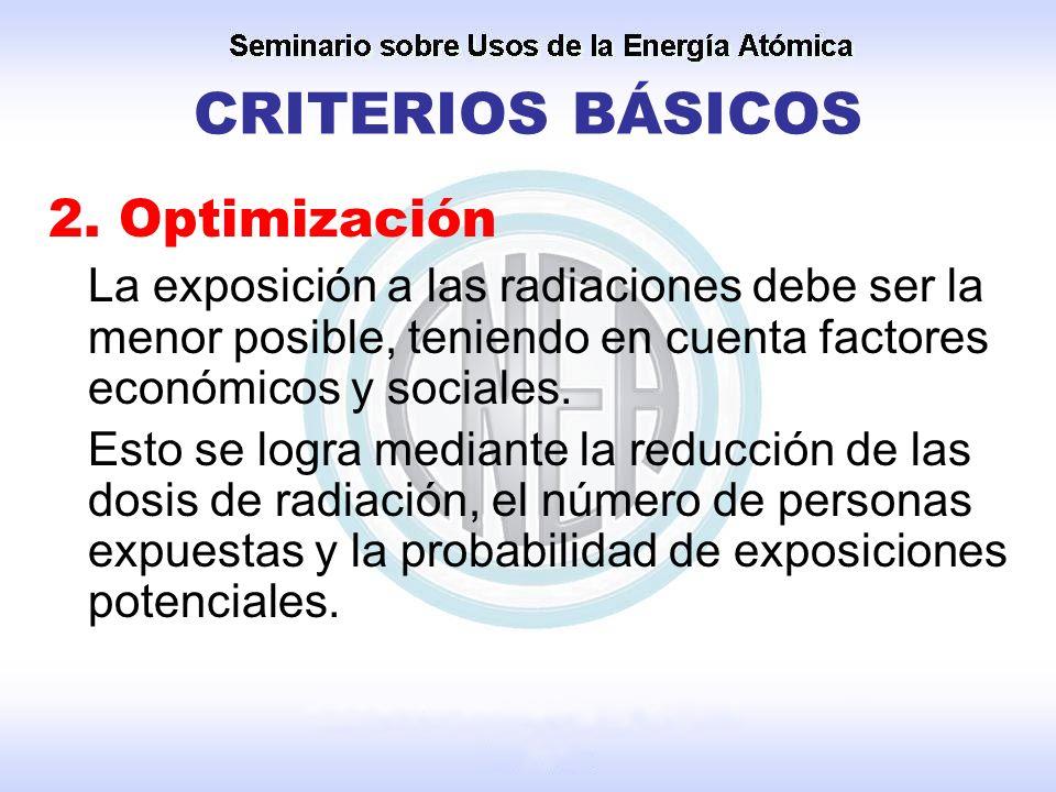 2. Optimización La exposición a las radiaciones debe ser la menor posible, teniendo en cuenta factores económicos y sociales. Esto se logra mediante l