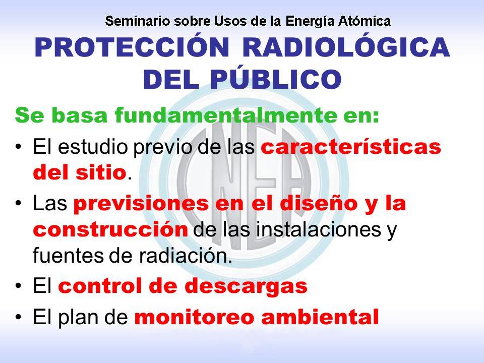 PROTECCIÓN RADIOLÓGICA DEL PÚBLICO Se basa fundamentalmente en: El estudio previo de las características del sitio. Las previsiones en el diseño y la