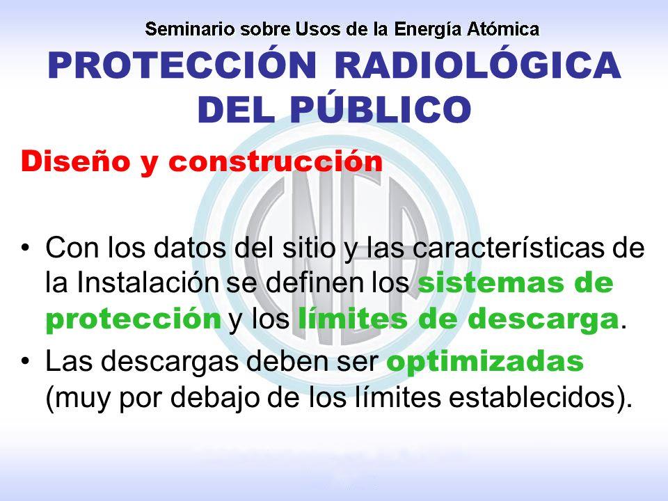 PROTECCIÓN RADIOLÓGICA DEL PÚBLICO Diseño y construcción Con los datos del sitio y las características de la Instalación se definen los sistemas de pr