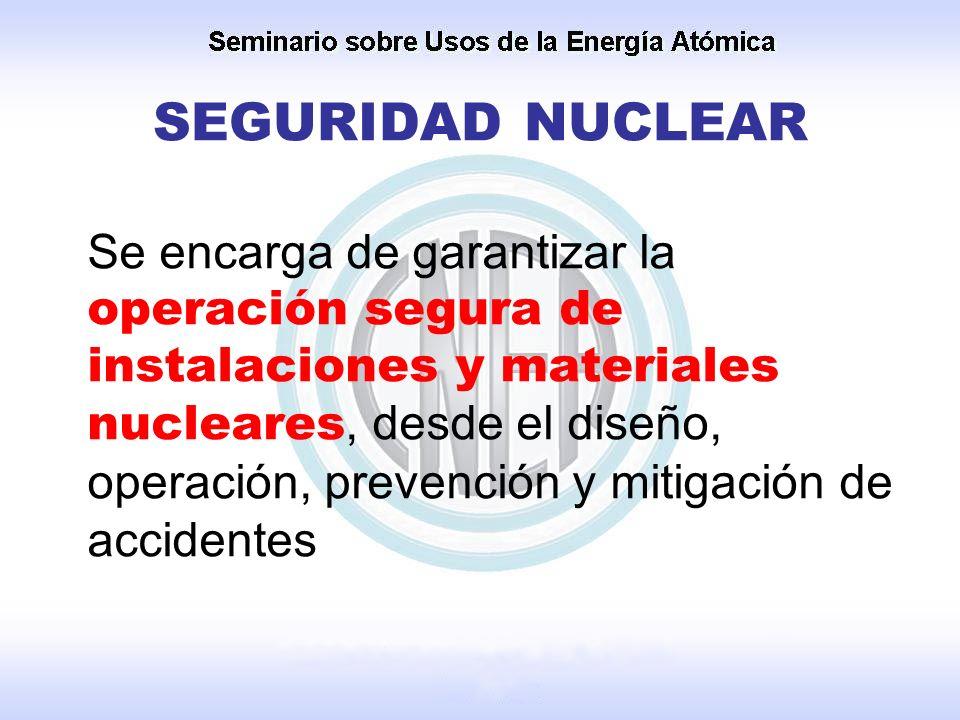 Se encarga de garantizar la operación segura de instalaciones y materiales nucleares, desde el diseño, operación, prevención y mitigación de accidente