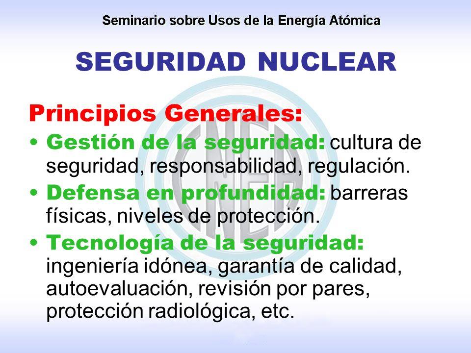 SEGURIDAD NUCLEAR Principios Generales: Gestión de la seguridad: cultura de seguridad, responsabilidad, regulación. Defensa en profundidad: barreras f