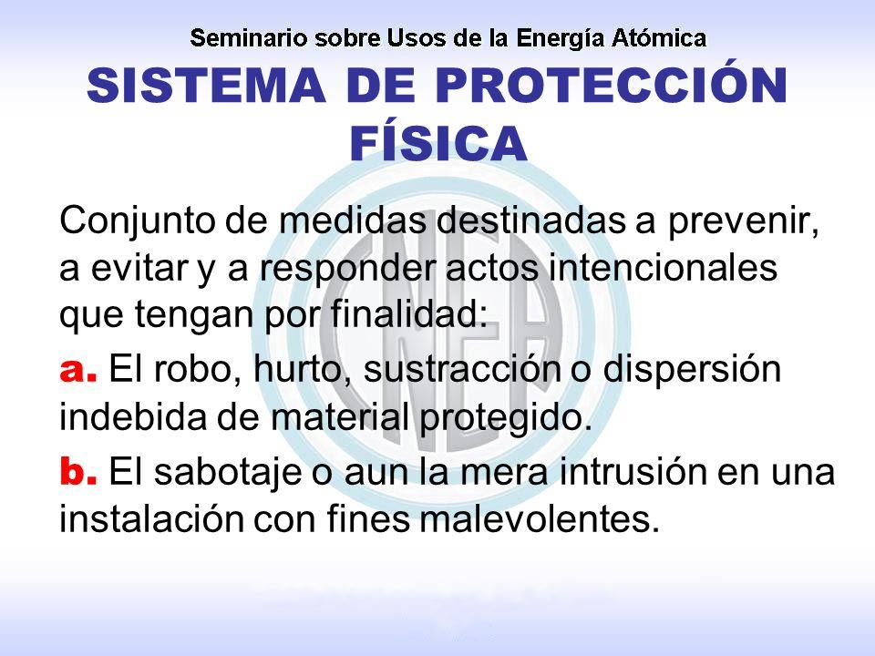 SISTEMA DE PROTECCIÓN FÍSICA Conjunto de medidas destinadas a prevenir, a evitar y a responder actos intencionales que tengan por finalidad: a. El rob