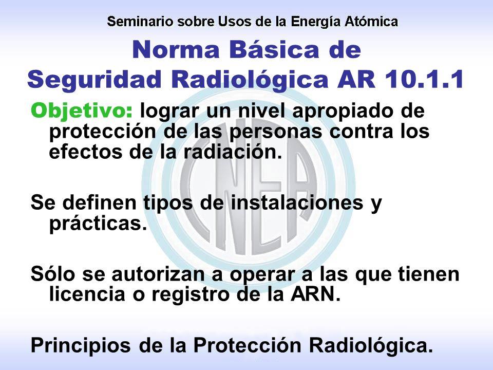 Norma Básica de Seguridad Radiológica AR 10.1.1 Objetivo: lograr un nivel apropiado de protección de las personas contra los efectos de la radiación.