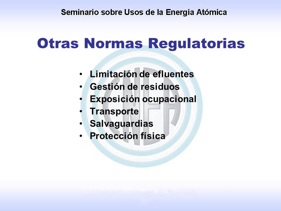 Otras Normas Regulatorias Limitación de efluentes Gestión de residuos Exposición ocupacional Transporte Salvaguardias Protección física