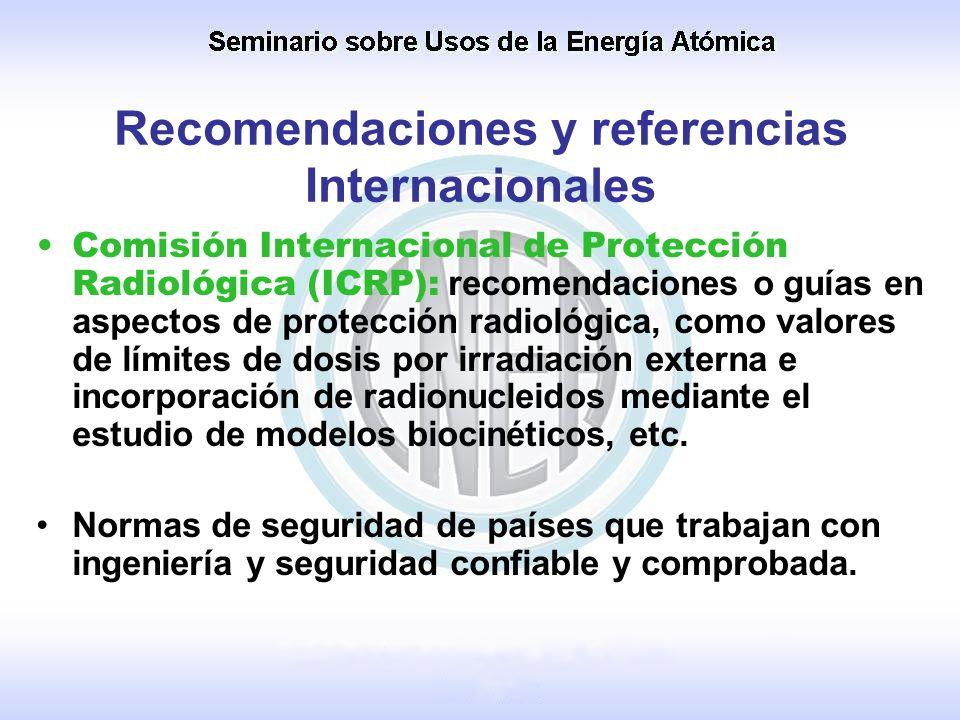 Recomendaciones y referencias Internacionales Comisión Internacional de Protección Radiológica (ICRP): recomendaciones o guías en aspectos de protecci