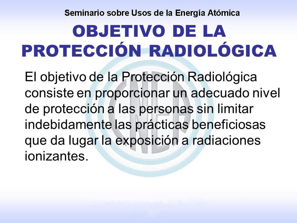 OBJETIVO DE LA PROTECCIÓN RADIOLÓGICA El objetivo de la Protección Radiológica consiste en proporcionar un adecuado nivel de protección a las personas