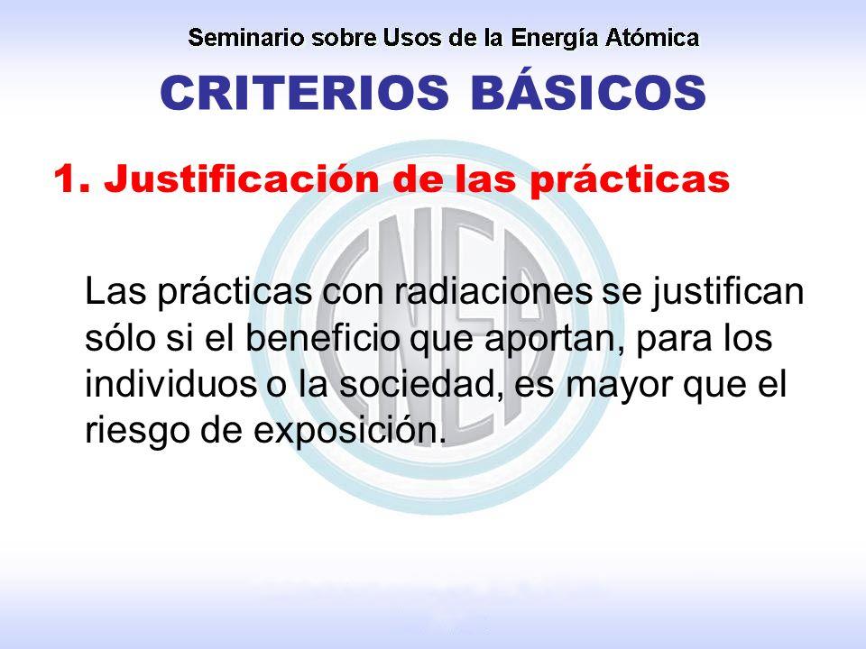 CRITERIOS BÁSICOS 1. Justificación de las prácticas Las prácticas con radiaciones se justifican sólo si el beneficio que aportan, para los individuos