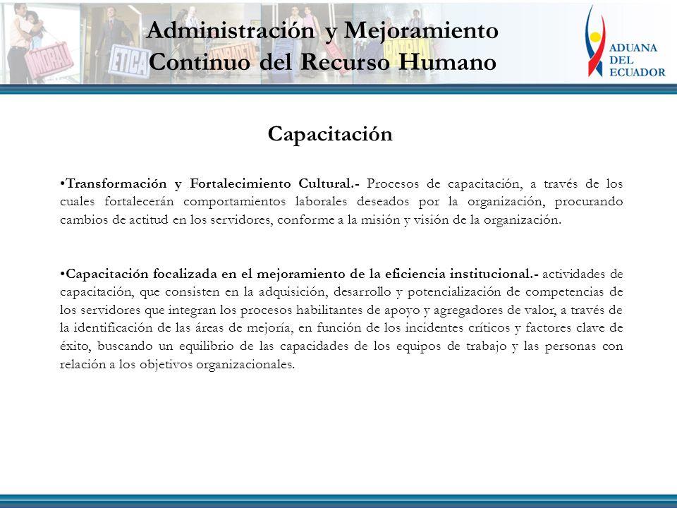 Administración y Mejoramiento Continuo del Recurso Humano Capacitación Transformación y Fortalecimiento Cultural.- Procesos de capacitación, a través