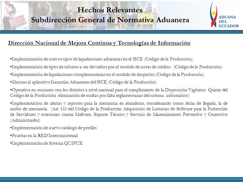 Dirección Nacional de Mejora Continua y Tecnologías de Información Implementación de nuevos tipos de liquidaciones aduaneras en el SICE (Código de la
