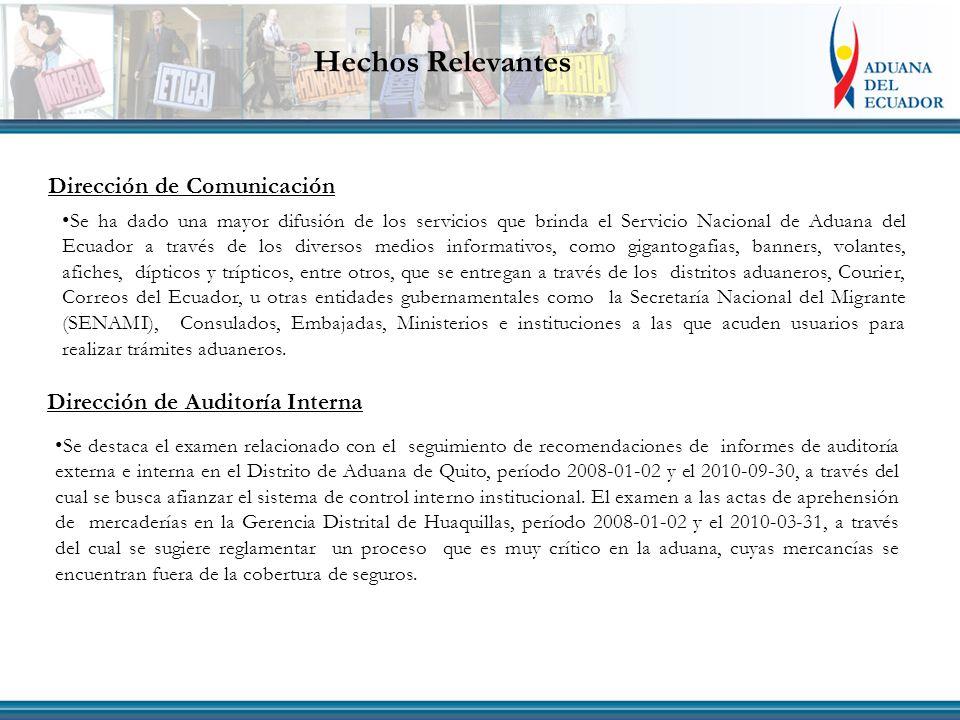 Dirección de Auditoría Interna Se ha dado una mayor difusión de los servicios que brinda el Servicio Nacional de Aduana del Ecuador a través de los diversos medios informativos, como gigantogafias, banners, volantes, afiches, dípticos y trípticos, entre otros, que se entregan a través de los distritos aduaneros, Courier, Correos del Ecuador, u otras entidades gubernamentales como la Secretaría Nacional del Migrante (SENAMI), Consulados, Embajadas, Ministerios e instituciones a las que acuden usuarios para realizar trámites aduaneros.