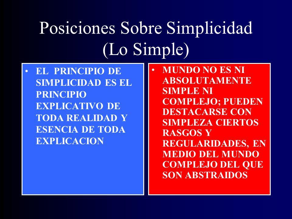 Posiciones Sobre Simplicidad (Lo Simple) EL PRINCIPIO DE SIMPLICIDAD ES EL PRINCIPIO EXPLICATIVO DE TODA REALIDAD Y ESENCIA DE TODA EXPLICACION MUNDO NO ES NI ABSOLUTAMENTE SIMPLE NI COMPLEJO; PUEDEN DESTACARSE CON SIMPLEZA CIERTOS RASGOS Y REGULARIDADES, EN MEDIO DEL MUNDO COMPLEJO DEL QUE SON ABSTRAIDOS