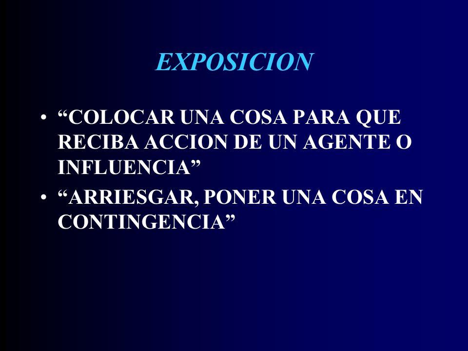 EXPOSICION COLOCAR UNA COSA PARA QUE RECIBA ACCION DE UN AGENTE O INFLUENCIA ARRIESGAR, PONER UNA COSA EN CONTINGENCIA