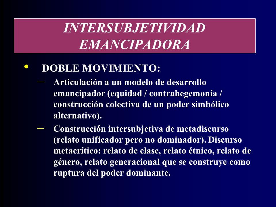 INTERSUBJETIVIDAD EMANCIPADORA DOBLE MOVIMIENTO: – Articulación a un modelo de desarrollo emancipador (equidad / contrahegemonía / construcción colectiva de un poder simbólico alternativo).