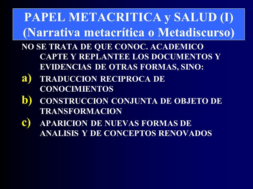 PAPEL METACRITICA y SALUD (I) (Narrativa metacrítica o Metadiscurso) NO SE TRATA DE QUE CONOC.