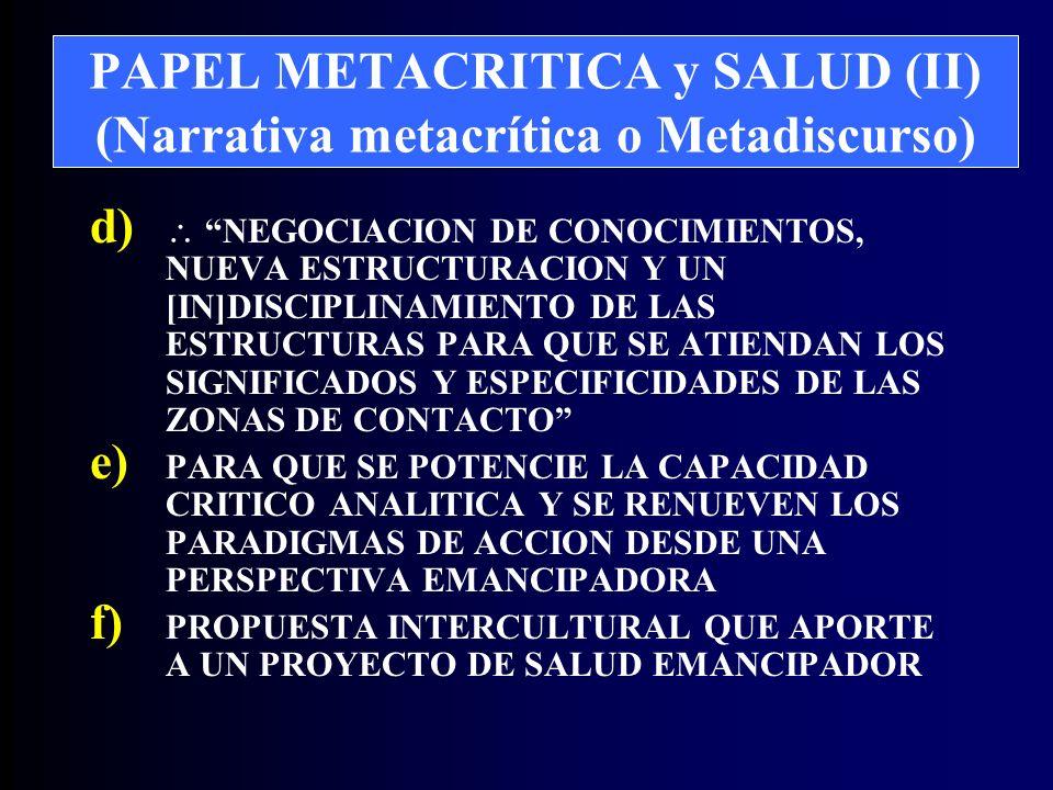 PAPEL METACRITICA y SALUD (II) (Narrativa metacrítica o Metadiscurso) d) NEGOCIACION DE CONOCIMIENTOS, NUEVA ESTRUCTURACION Y UN [IN]DISCIPLINAMIENTO DE LAS ESTRUCTURAS PARA QUE SE ATIENDAN LOS SIGNIFICADOS Y ESPECIFICIDADES DE LAS ZONAS DE CONTACTO e) PARA QUE SE POTENCIE LA CAPACIDAD CRITICO ANALITICA Y SE RENUEVEN LOS PARADIGMAS DE ACCION DESDE UNA PERSPECTIVA EMANCIPADORA f) PROPUESTA INTERCULTURAL QUE APORTE A UN PROYECTO DE SALUD EMANCIPADOR