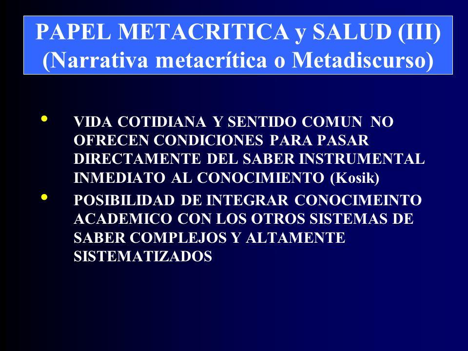 PAPEL METACRITICA y SALUD (III) (Narrativa metacrítica o Metadiscurso) VIDA COTIDIANA Y SENTIDO COMUN NO OFRECEN CONDICIONES PARA PASAR DIRECTAMENTE DEL SABER INSTRUMENTAL INMEDIATO AL CONOCIMIENTO (Kosik) POSIBILIDAD DE INTEGRAR CONOCIMEINTO ACADEMICO CON LOS OTROS SISTEMAS DE SABER COMPLEJOS Y ALTAMENTE SISTEMATIZADOS