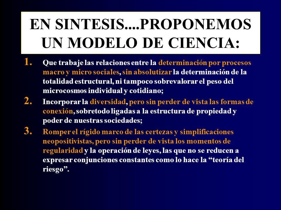 EN SINTESIS....PROPONEMOS UN MODELO DE CIENCIA: 1.