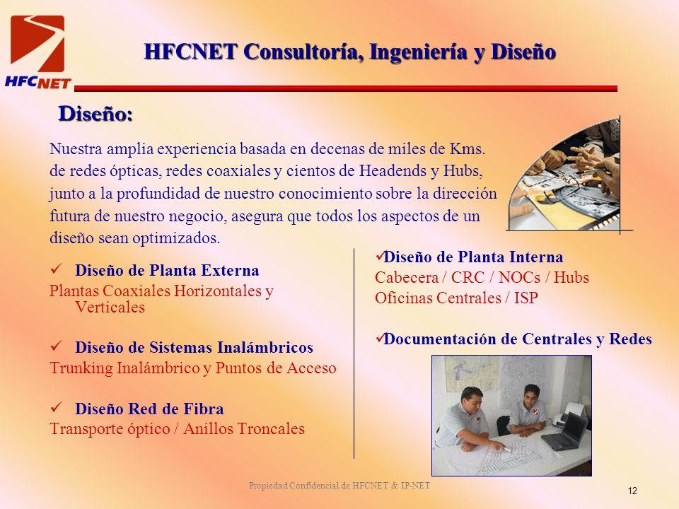 Propiedad Confidencial de HFCNET & IP-NET Diseño: Diseño de Planta Externa Plantas Coaxiales Horizontales y Verticales Diseño de Sistemas Inalámbricos Trunking Inalámbrico y Puntos de Acceso Diseño Red de Fibra Transporte óptico / Anillos Troncales Diseño de Planta Interna Cabecera / CRC / NOCs / Hubs Oficinas Centrales / ISP Documentación de Centrales y Redes Nuestra amplia experiencia basada en decenas de miles de Kms.