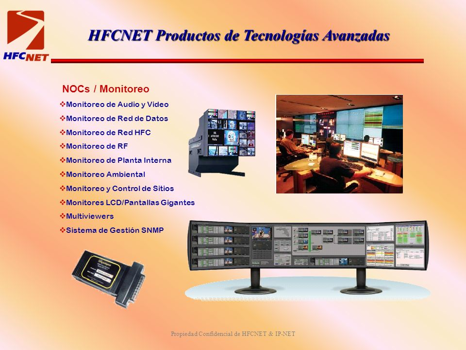 Propiedad Confidencial de HFCNET & IP-NET NOCs / Monitoreo Monitoreo de Audio y Video Monitoreo de Red de Datos Monitoreo de Red HFC Monitoreo de RF M