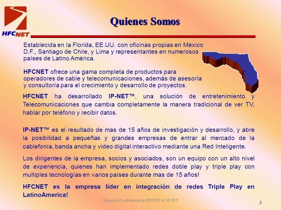 Propiedad Confidencial de HFCNET & IP-NET Quienes Somos Establecida en la Florida, EE.UU. con oficinas propias en México D.F., Santiago de Chile, y Li
