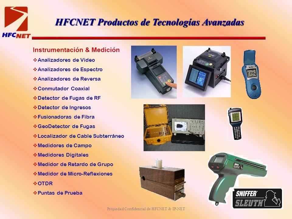 Propiedad Confidencial de HFCNET & IP-NET Instrumentación & Medición Analizadores de Video Analizadores de Espectro Analizadores de Reversa Conmutador Coaxial Detector de Fugas de RF Detector de Ingresos Fusionadoras de Fibra GeoDetector de Fugas Localizador de Cable Subterráneo Medidores de Campo Medidores Digitales Medidor de Retardo de Grupo Medidor de Micro-Reflexiones OTDR Puntas de Prueba HFCNET Productos de Tecnologías Avanzadas