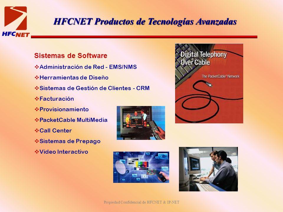 Propiedad Confidencial de HFCNET & IP-NET Sistemas de Software Administración de Red - EMS/NMS Herramientas de Diseño Sistemas de Gestión de Clientes - CRM Facturación Provisionamiento PacketCable MultiMedia Call Center Sistemas de Prepago Video Interactivo HFCNET Productos de Tecnologías Avanzadas