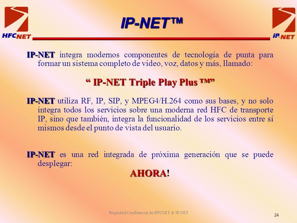 Propiedad Confidencial de HFCNET & IP-NET IP-NET IP-NET integra modernos componentes de tecnología de punta para formar un sistema completo de video, voz, datos y más, llamado: IP-NET Triple Play Plus IP-NET Triple Play Plus IP-NET IP-NET utiliza RF, IP, SIP, y MPEG4/H.264 como sus bases, y no solo integra todos los servicios sobre una moderna red HFC de transporte IP, sino que también, integra la funcionalidad de los servicios entre sí mismos desde el punto de vista del usuario.