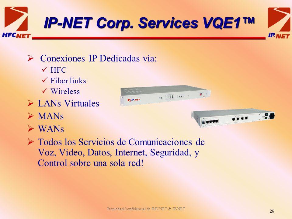 Propiedad Confidencial de HFCNET & IP-NET Conexiones IP Dedicadas vía: HFC Fiber links Wireless LANs Virtuales MANs WANs Todos los Servicios de Comunicaciones de Voz, Video, Datos, Internet, Seguridad, y Control sobre una sola red.