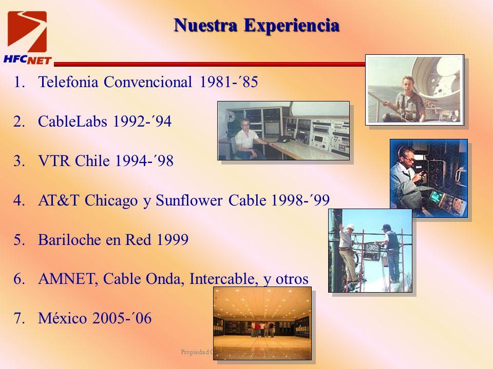 Propiedad Confidencial de HFCNET & IP-NET Nuestra Experiencia 1.Telefonia Convencional 1981-´85 2.CableLabs 1992-´94 3.VTR Chile 1994-´98 4.AT&T Chicago y Sunflower Cable 1998-´99 5.Bariloche en Red 1999 6.AMNET, Cable Onda, Intercable, y otros 7.México 2005-´06