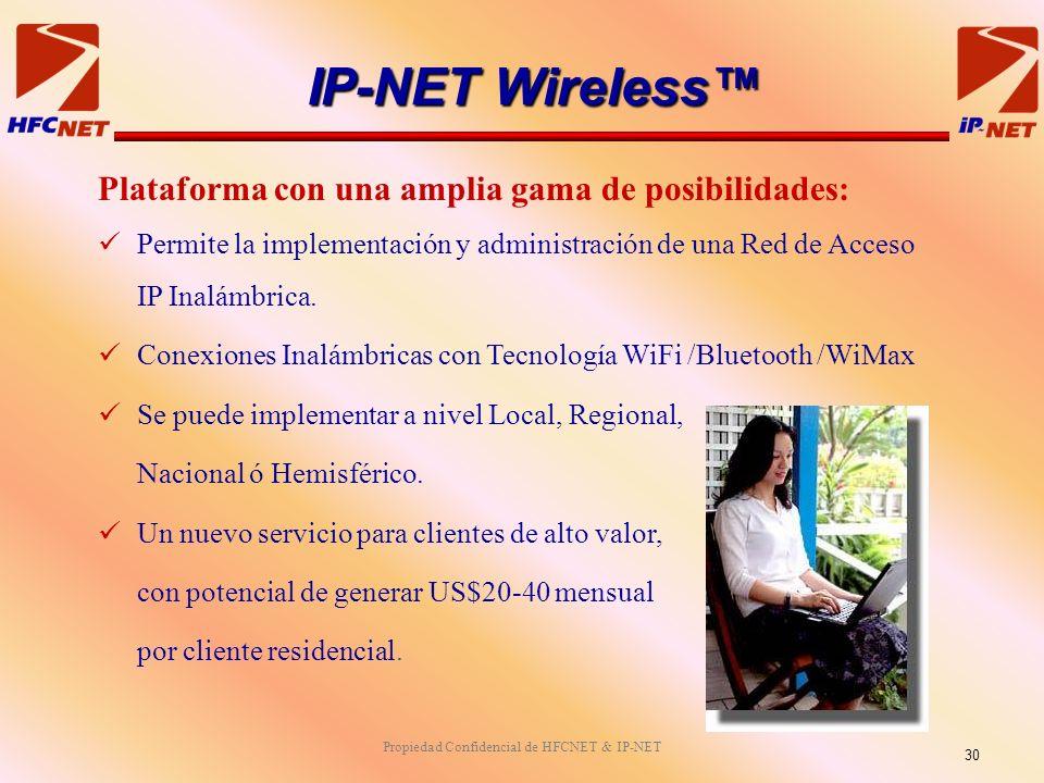 Propiedad Confidencial de HFCNET & IP-NET Plataforma con una amplia gama de posibilidades: Permite la implementación y administración de una Red de Acceso IP Inalámbrica.