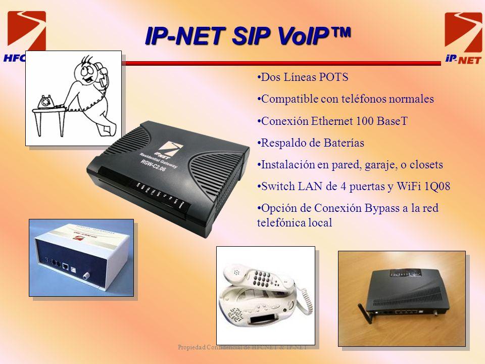 Propiedad Confidencial de HFCNET & IP-NET Dos Líneas POTS Compatible con teléfonos normales Conexión Ethernet 100 BaseT Respaldo de Baterías Instalación en pared, garaje, o closets Switch LAN de 4 puertas y WiFi 1Q08 Opción de Conexión Bypass a la red telefónica local IP-NET SIP VoIP