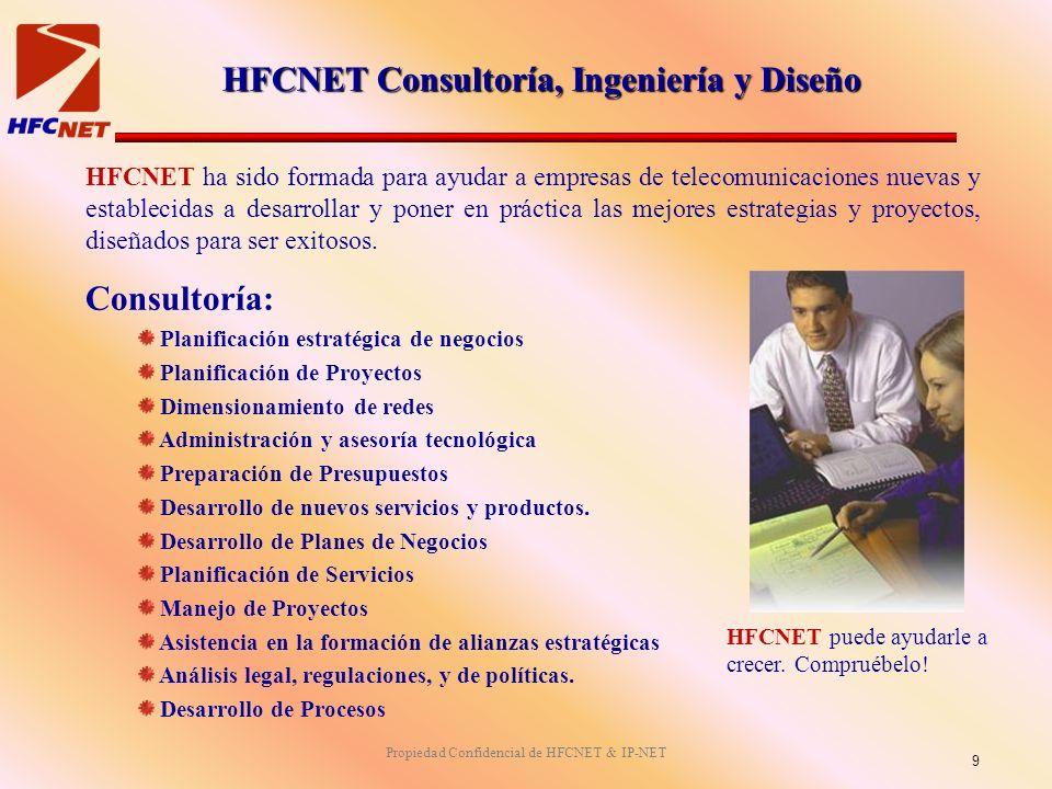 Propiedad Confidencial de HFCNET & IP-NET HFCNET ha sido formada para ayudar a empresas de telecomunicaciones nuevas y establecidas a desarrollar y poner en práctica las mejores estrategias y proyectos, diseñados para ser exitosos.