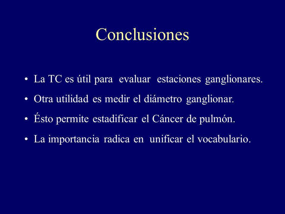 Conclusiones La TC es útil para evaluar estaciones ganglionares. Otra utilidad es medir el diámetro ganglionar. Ésto permite estadificar el Cáncer de